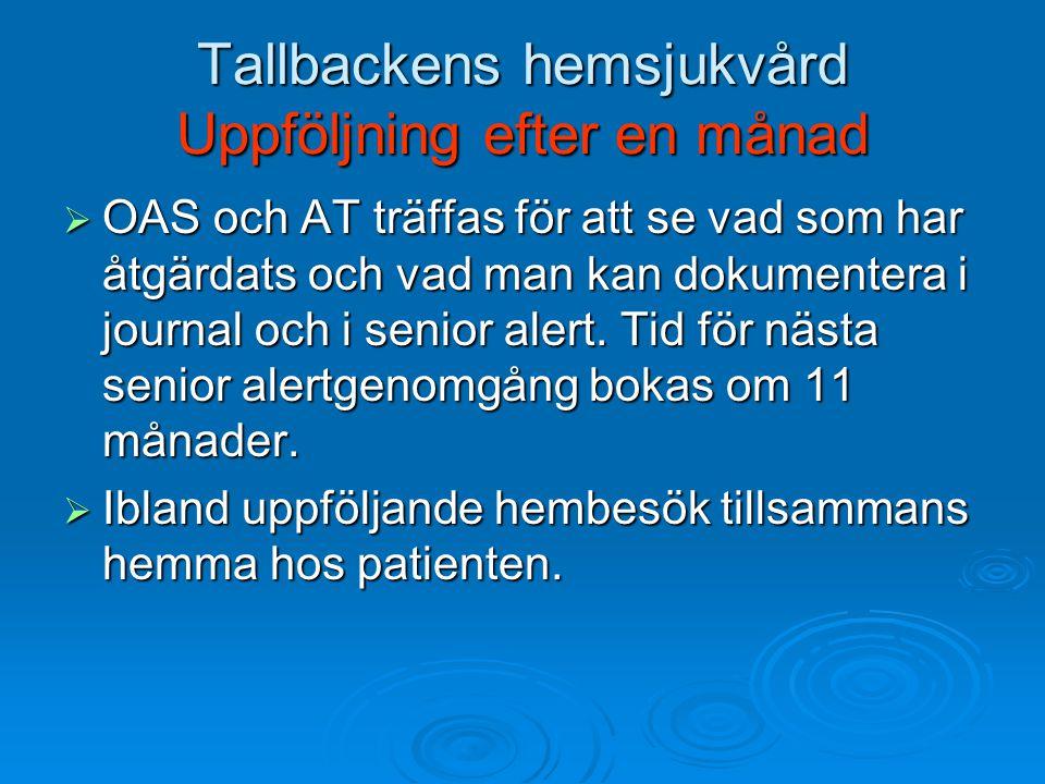 Tallbackens hemsjukvård Uppföljning efter en månad
