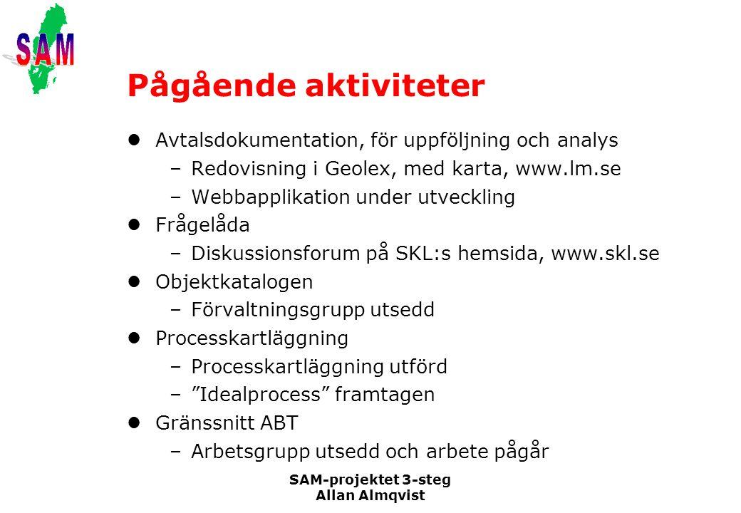 Pågående aktiviteter Avtalsdokumentation, för uppföljning och analys