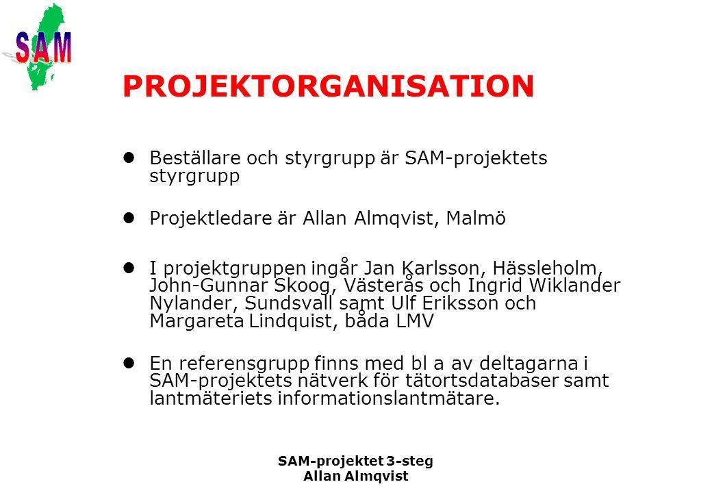 PROJEKTORGANISATION Beställare och styrgrupp är SAM-projektets styrgrupp. Projektledare är Allan Almqvist, Malmö.