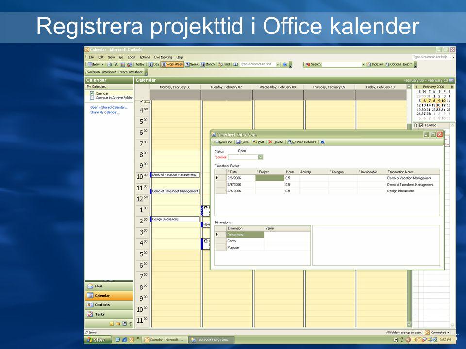 Registrera projekttid i Office kalender