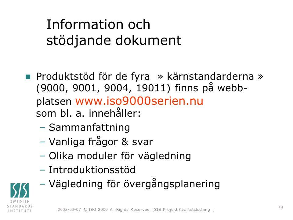Information och stödjande dokument