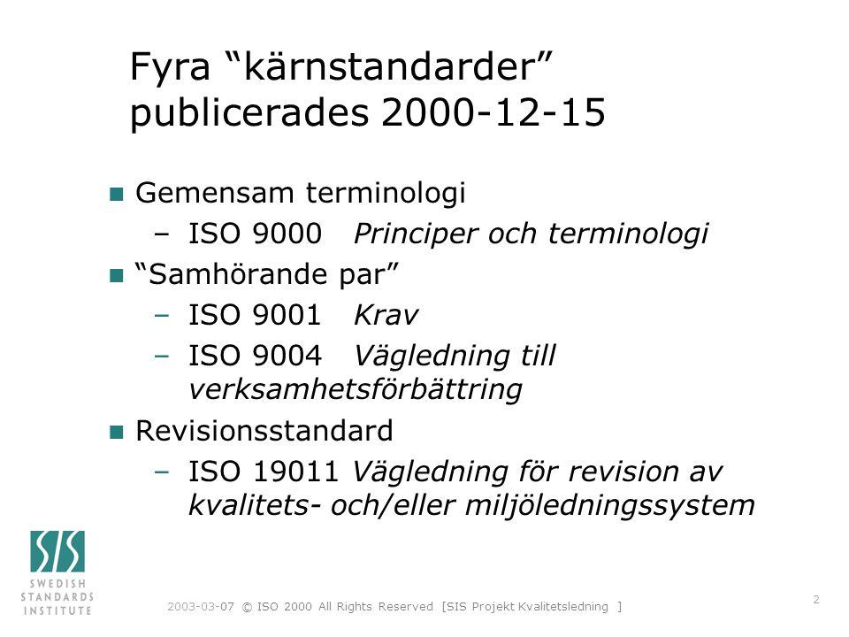Fyra kärnstandarder publicerades 2000-12-15