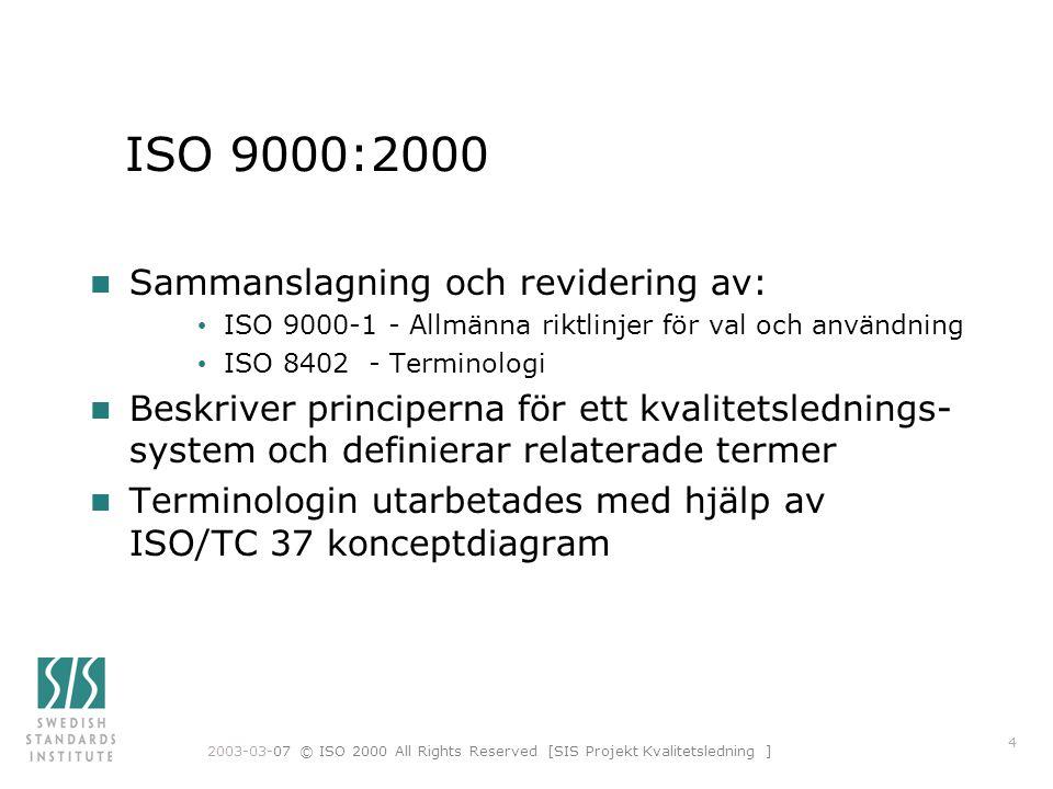 ISO 9000:2000 Sammanslagning och revidering av: