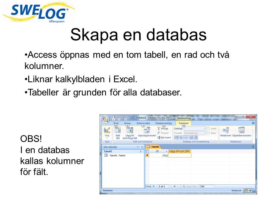 Skapa en databas Access öppnas med en tom tabell, en rad och två kolumner. Liknar kalkylbladen i Excel.