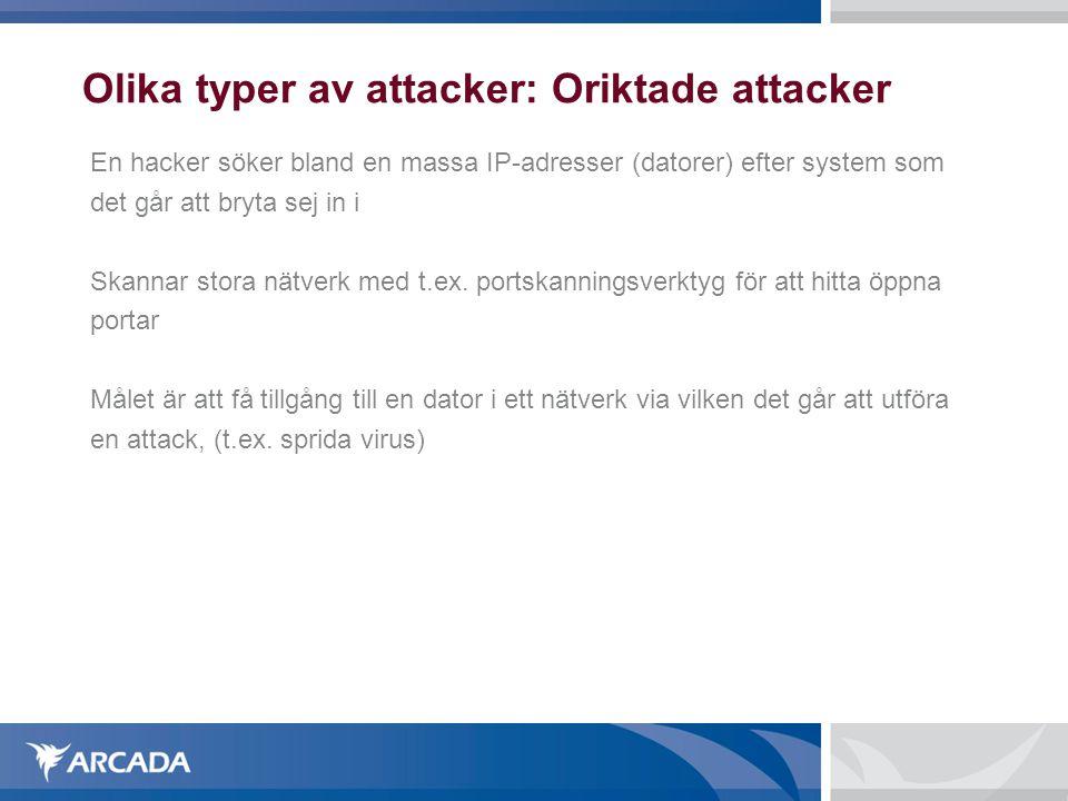 Olika typer av attacker: Oriktade attacker