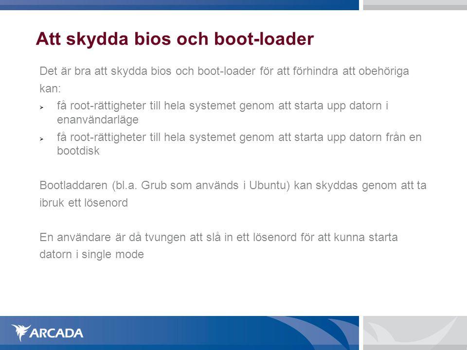 Att skydda bios och boot-loader