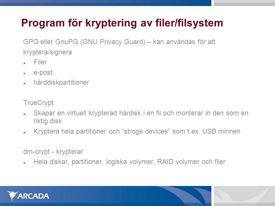 Program för kryptering av filer/filsystem