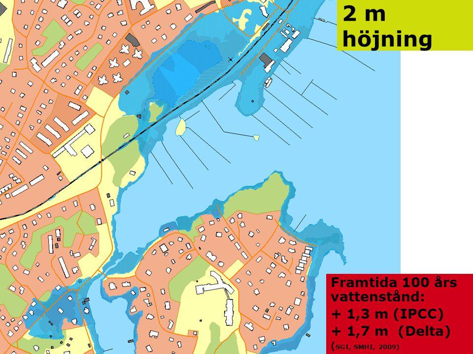 2 m höjning Framtida 100 års vattenstånd: + 1,3 m (IPCC)