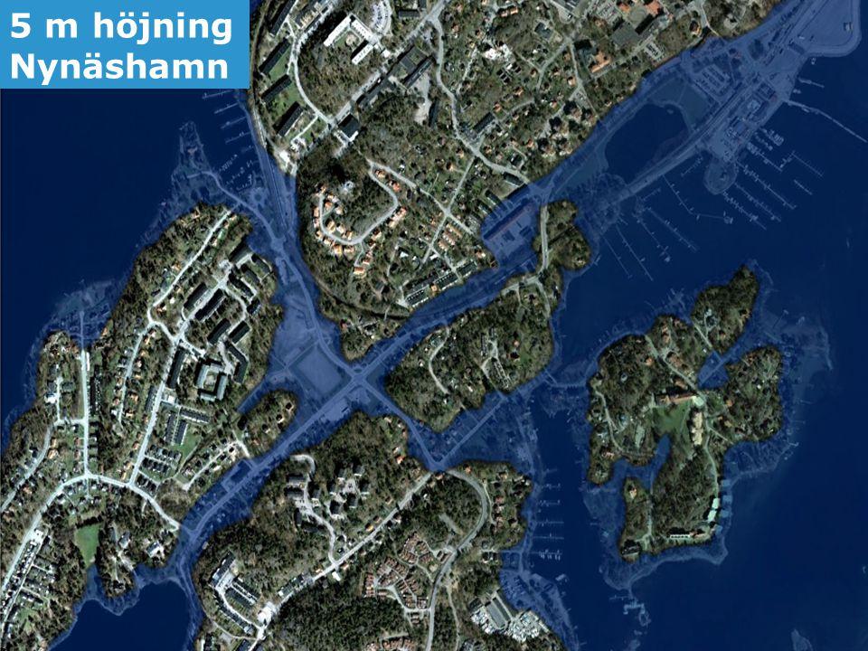 5 m höjning Nynäshamn Framtida havsnivåer i Stockholms län