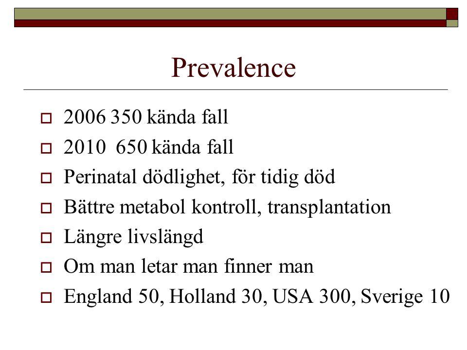 Prevalence 2006 350 kända fall 2010 650 kända fall