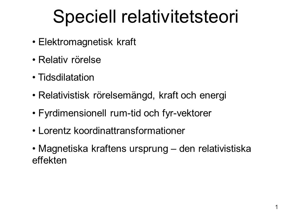 Speciell relativitetsteori