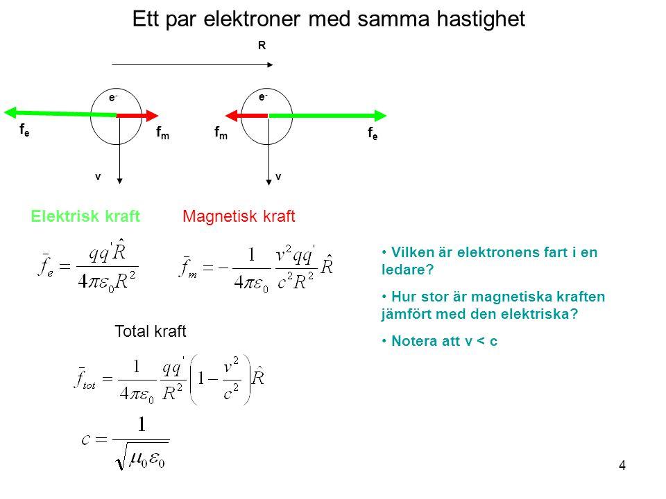 Ett par elektroner med samma hastighet