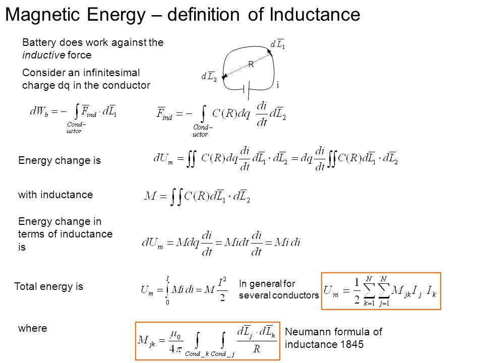 Magnetic Energy – definition of Inductance