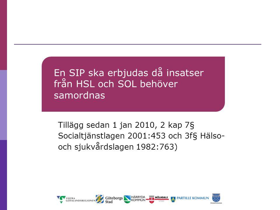 En SIP ska erbjudas då insatser från HSL och SOL behöver samordnas