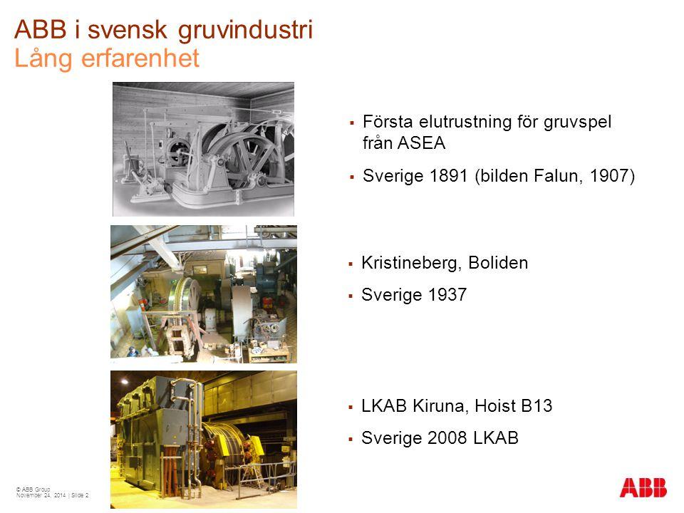 ABB i svensk gruvindustri Lång erfarenhet