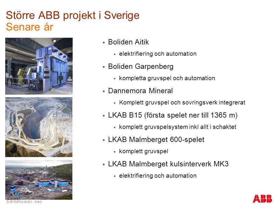 Större ABB projekt i Sverige Senare år