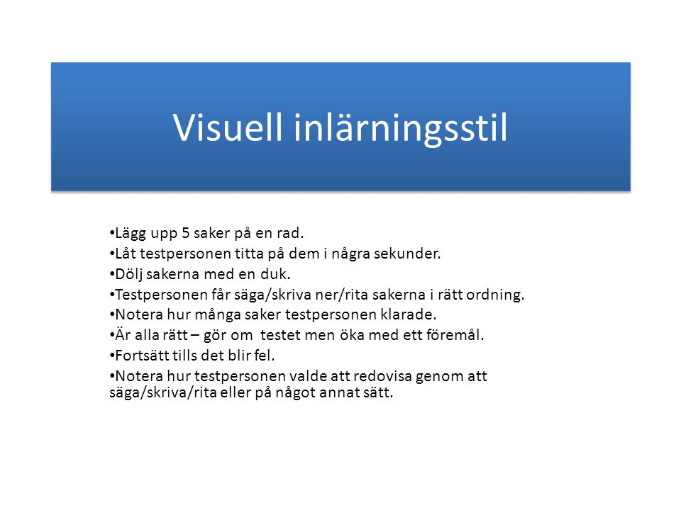 Visuell inlärningsstil