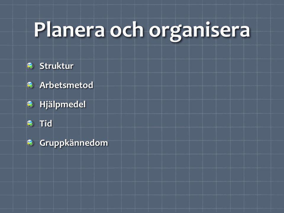 Planera och organisera