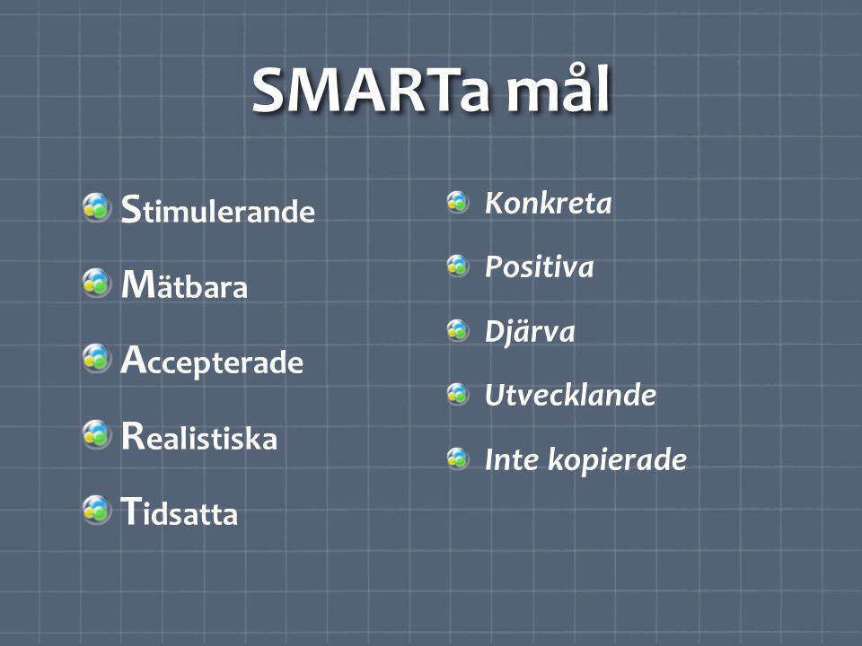 SMARTa mål Stimulerande Mätbara Accepterade Realistiska Tidsatta
