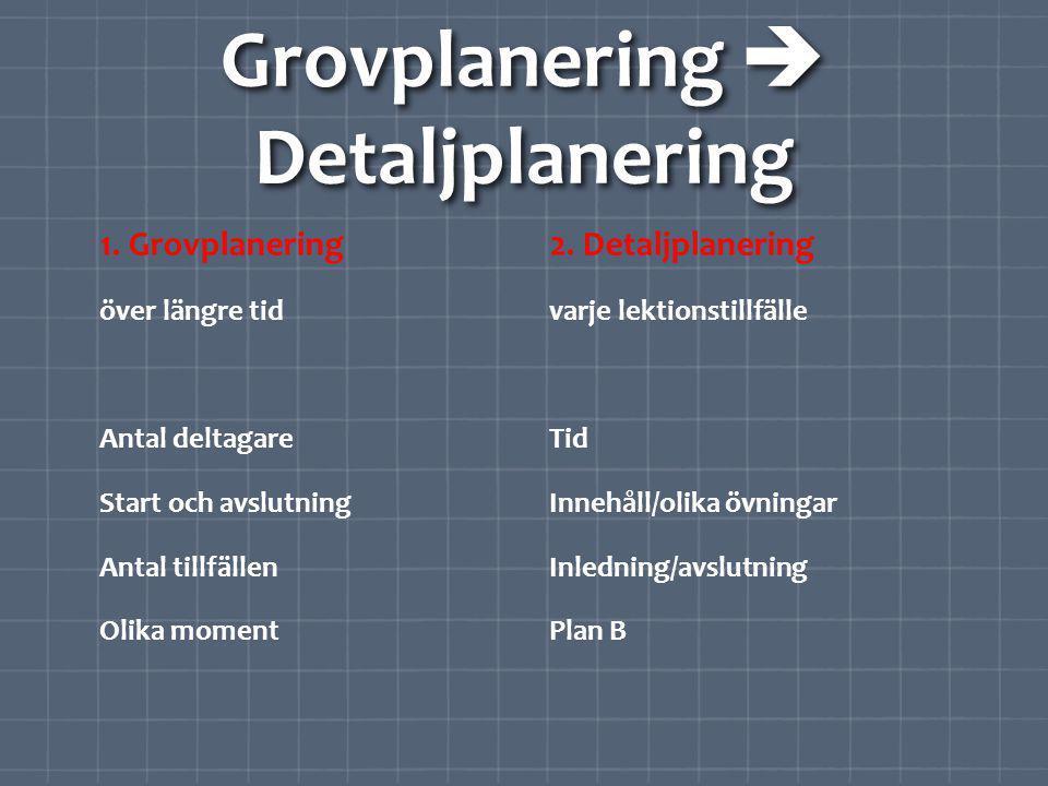 Grovplanering  Detaljplanering