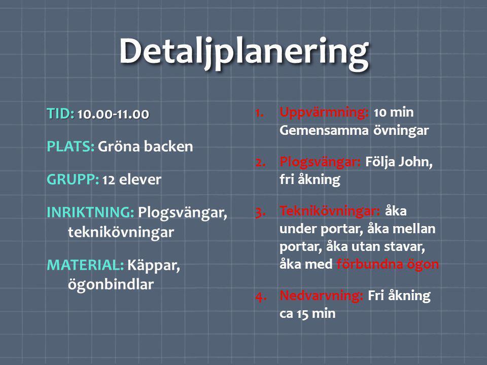 Detaljplanering TID: 10.00-11.00 PLATS: Gröna backen GRUPP: 12 elever INRIKTNING: Plogsvängar, teknikövningar MATERIAL: Käppar, ögonbindlar