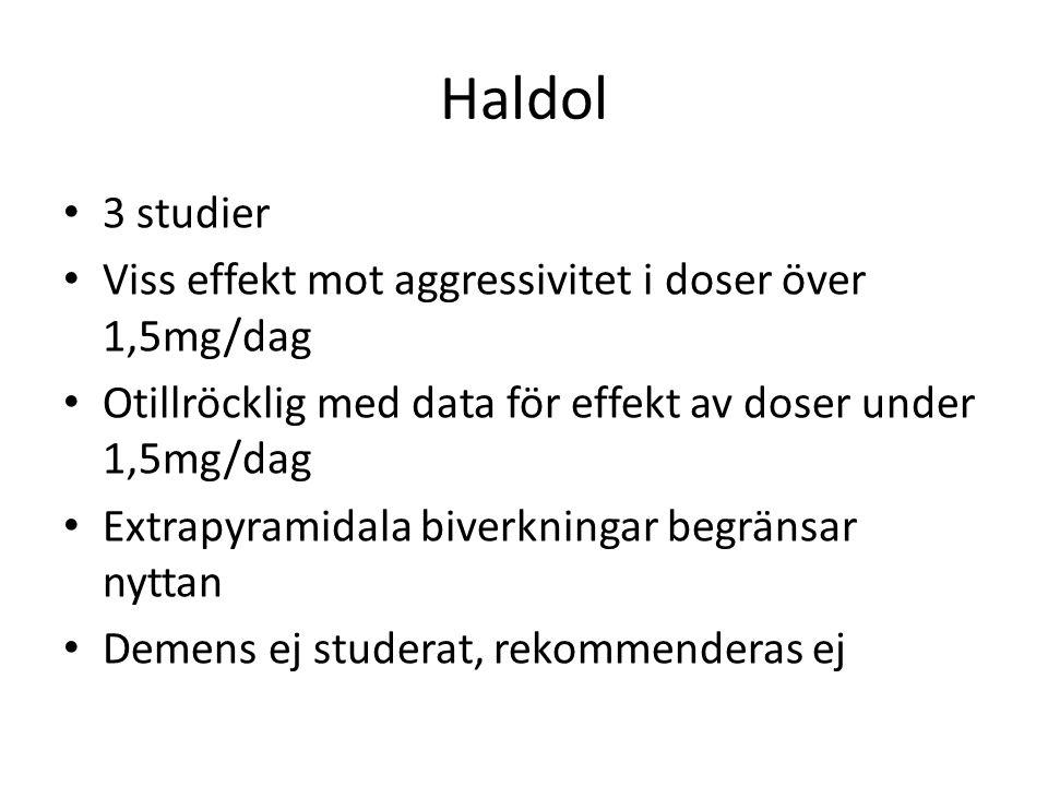 Haldol 3 studier Viss effekt mot aggressivitet i doser över 1,5mg/dag