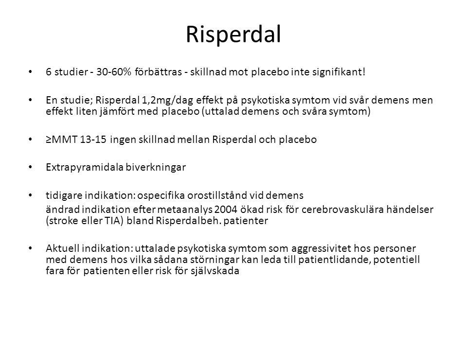 Risperdal 6 studier - 30-60% förbättras - skillnad mot placebo inte signifikant!