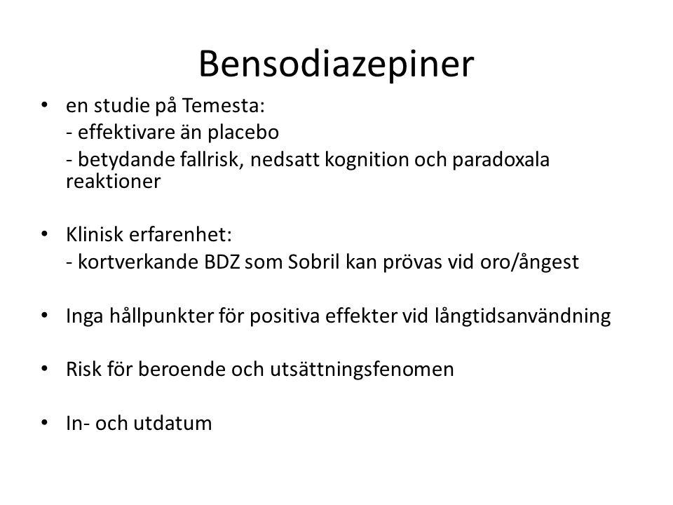 Bensodiazepiner en studie på Temesta: - effektivare än placebo