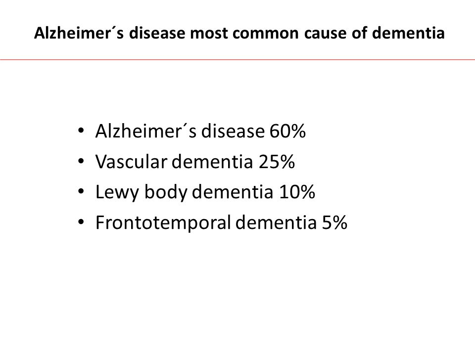 Alzheimer´s disease most common cause of dementia