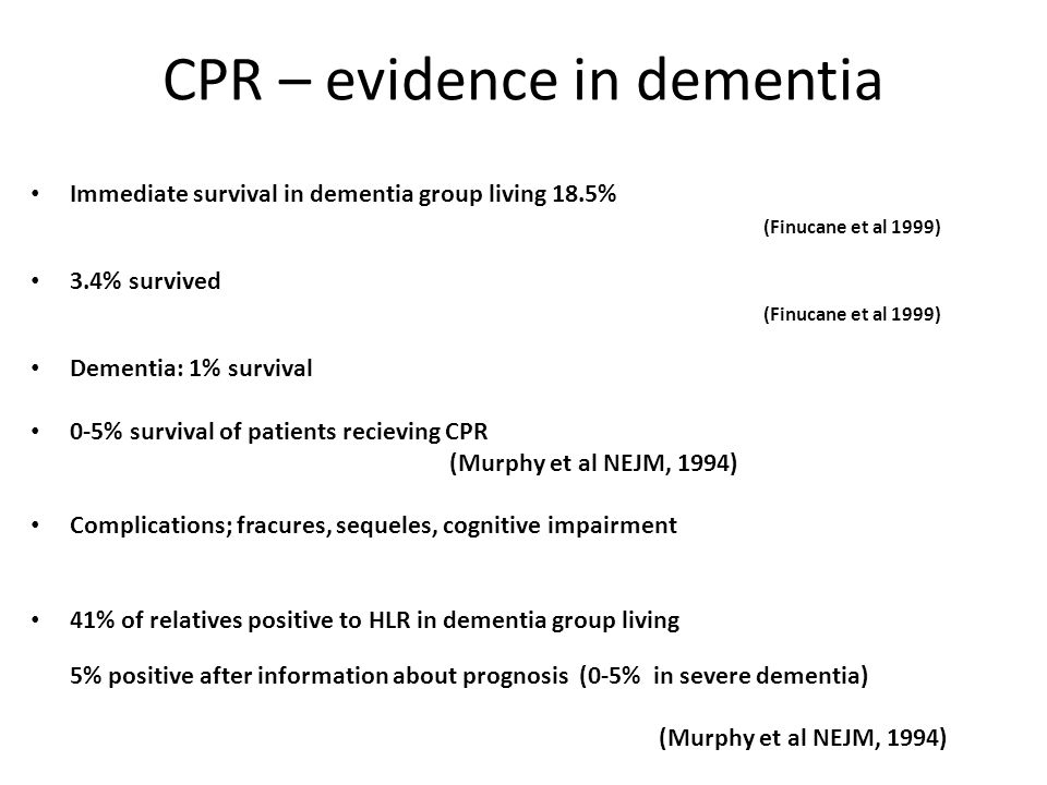 CPR – evidence in dementia