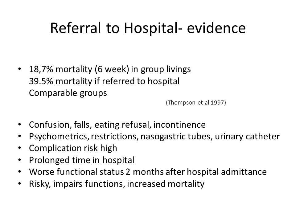 Referral to Hospital- evidence