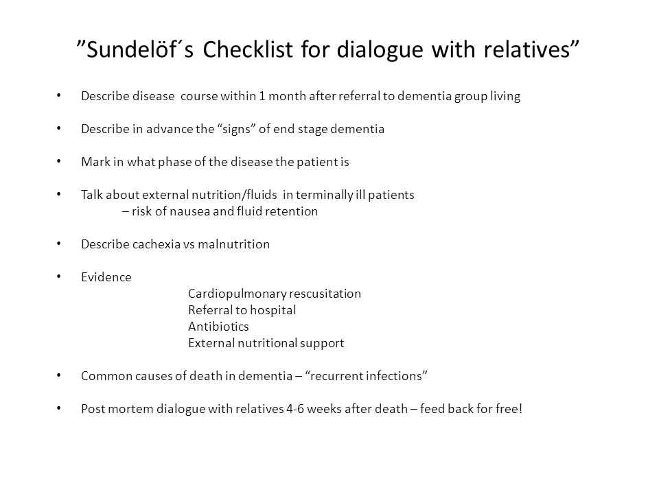 Sundelöf´s Checklist for dialogue with relatives