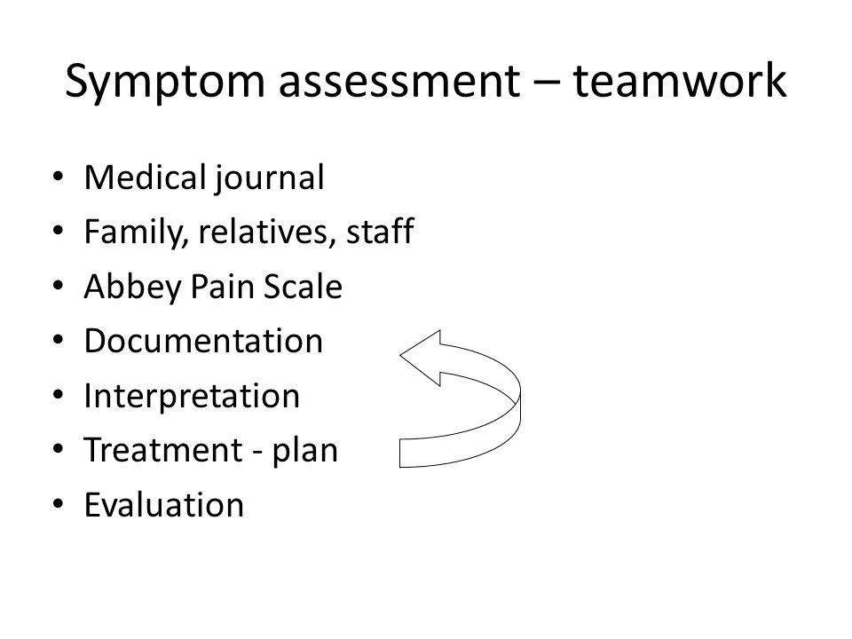 Symptom assessment – teamwork