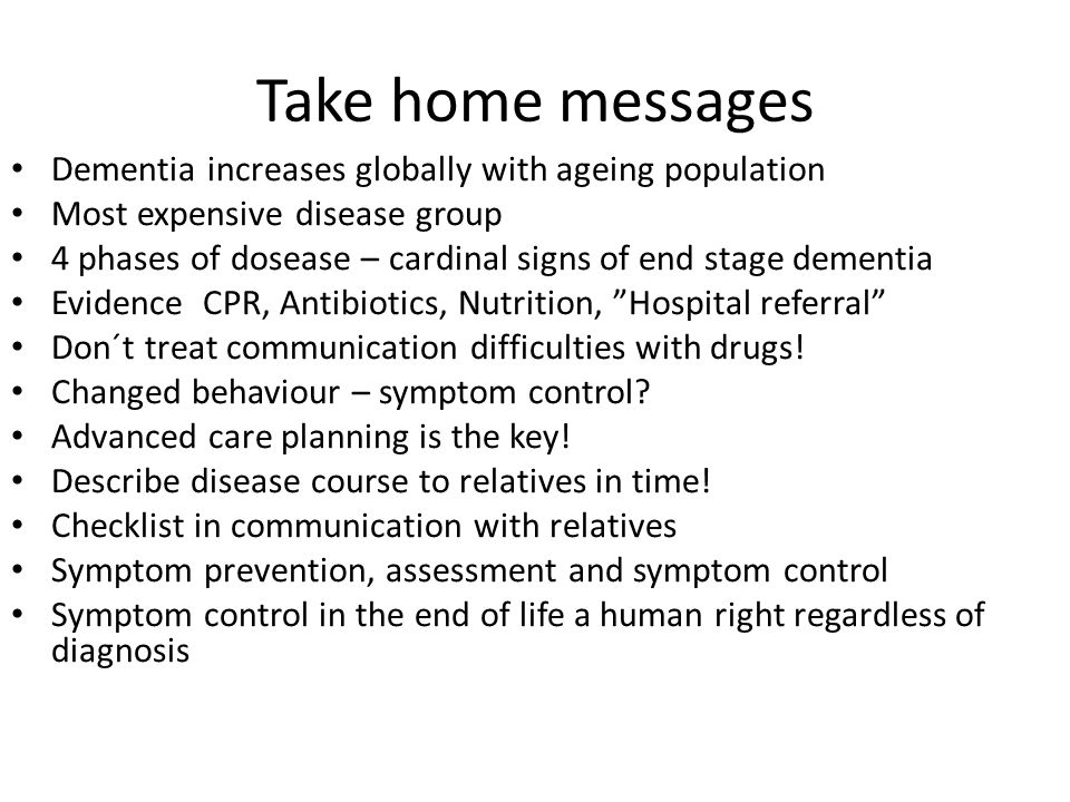 Take home messages Dementia increases globally with ageing population