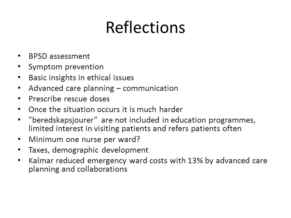 Reflections BPSD assessment Symptom prevention