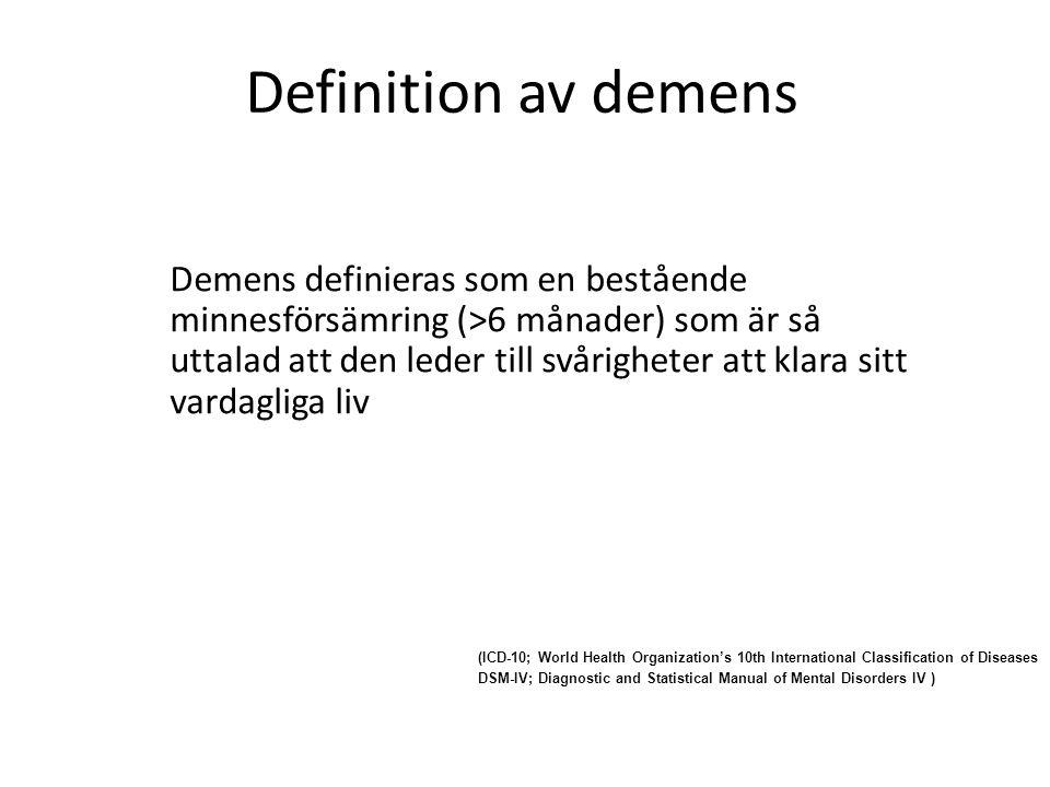 Definition av demens