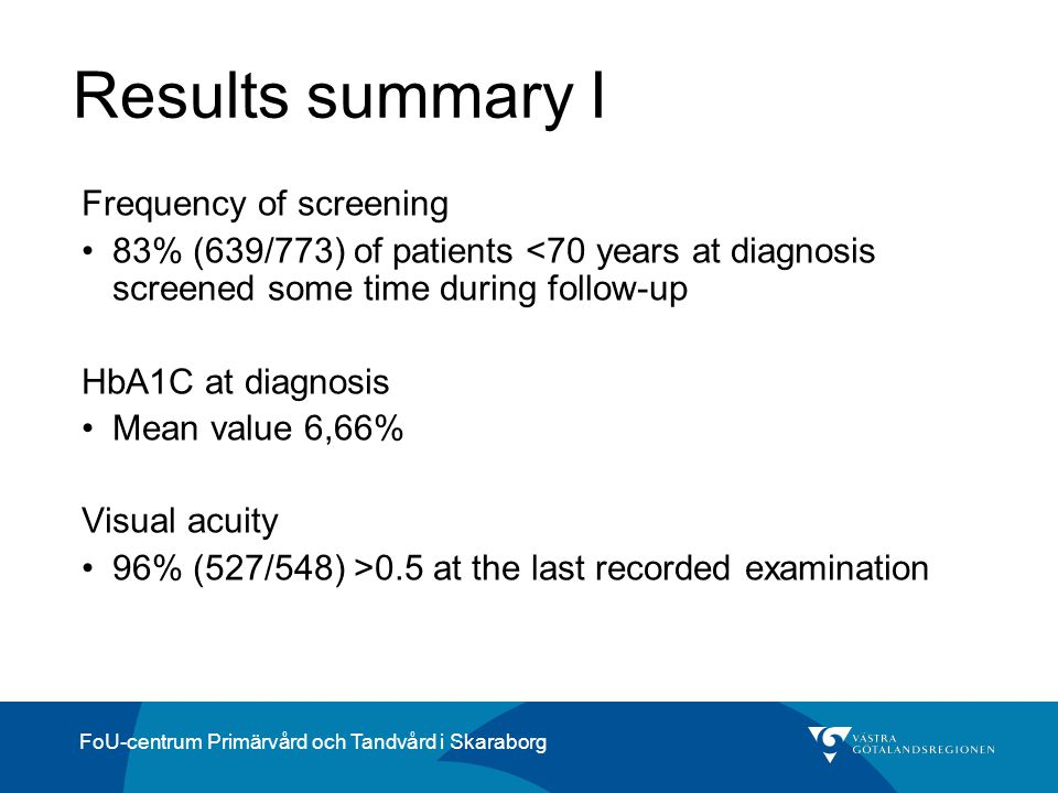 Results summary I Frequency of screening