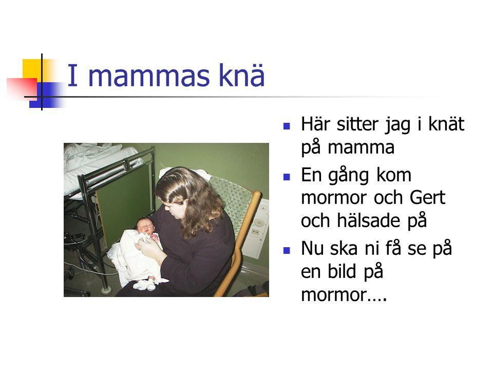I mammas knä Här sitter jag i knät på mamma