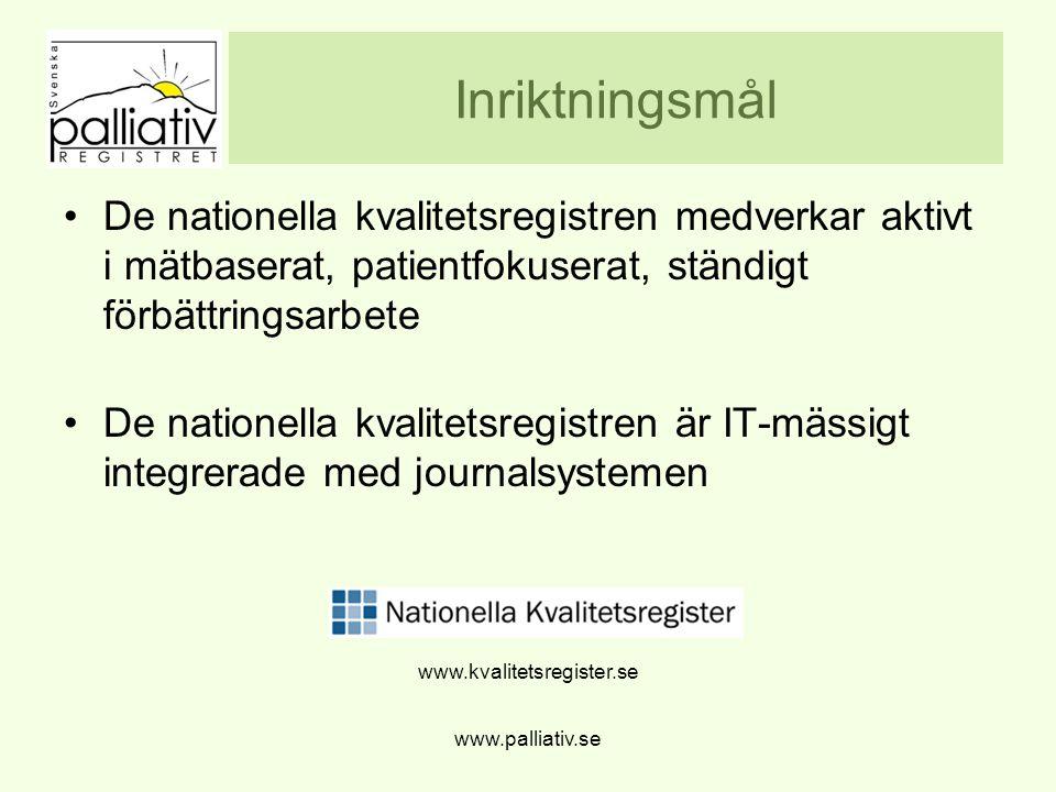 Inriktningsmål De nationella kvalitetsregistren medverkar aktivt i mätbaserat, patientfokuserat, ständigt förbättringsarbete.