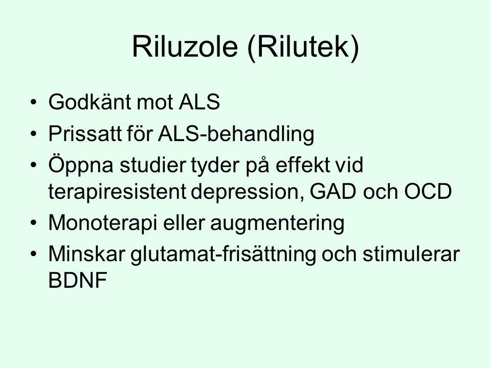 Riluzole (Rilutek) Godkänt mot ALS Prissatt för ALS-behandling
