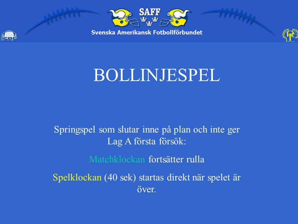 BOLLINJESPEL Springspel som slutar inne på plan och inte ger Lag A första försök: Matchklockan fortsätter rulla.