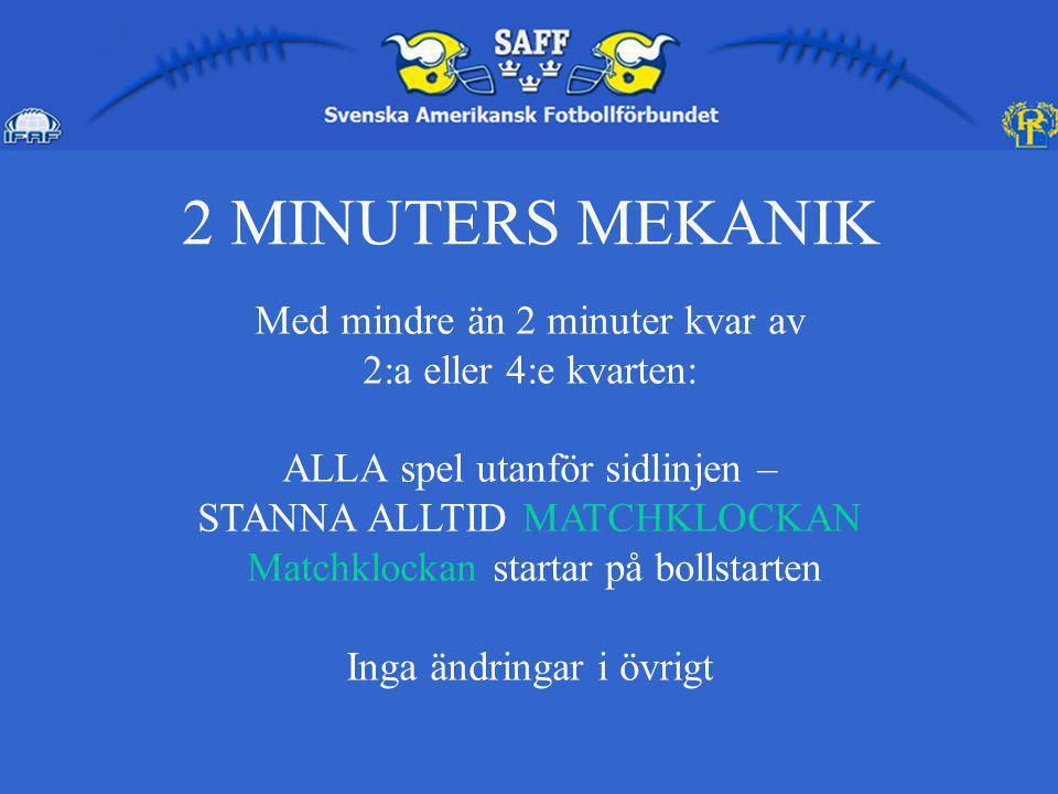 2 MINUTERS MEKANIK Med mindre än 2 minuter kvar av 2:a eller 4:e kvarten: