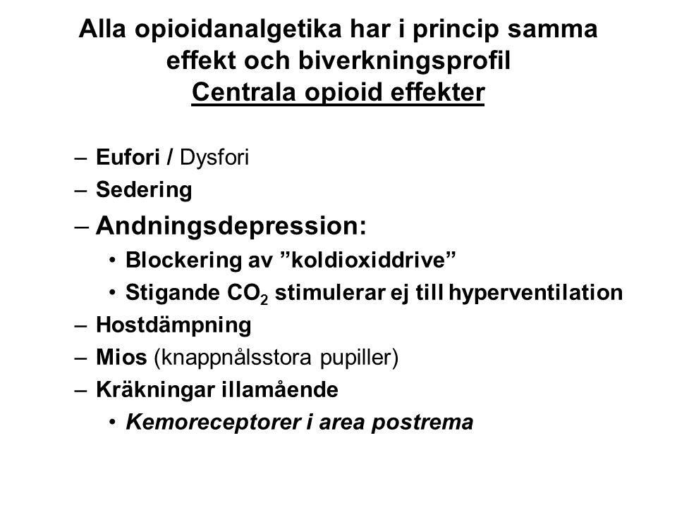 Alla opioidanalgetika har i princip samma effekt och biverkningsprofil Centrala opioid effekter