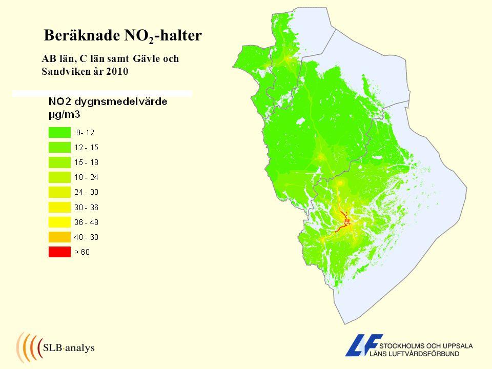 Beräknade NO2-halter AB län, C län samt Gävle och Sandviken år 2010