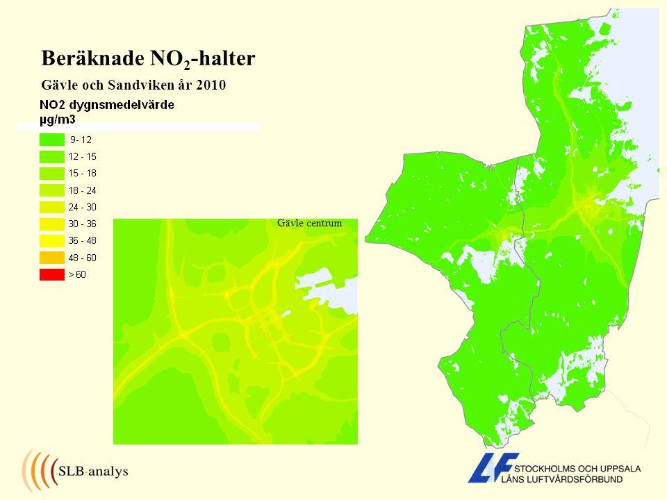 Beräknade NO2-halter Gävle och Sandviken år 2010 Gävle centrum