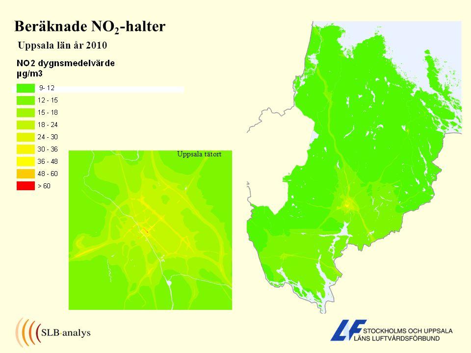 Beräknade NO2-halter Uppsala län år 2010 Uppsala tätort