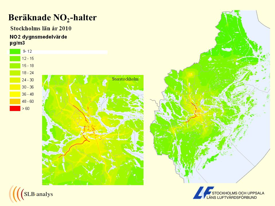 Beräknade NO2-halter Stockholms län år 2010 Storstockholm
