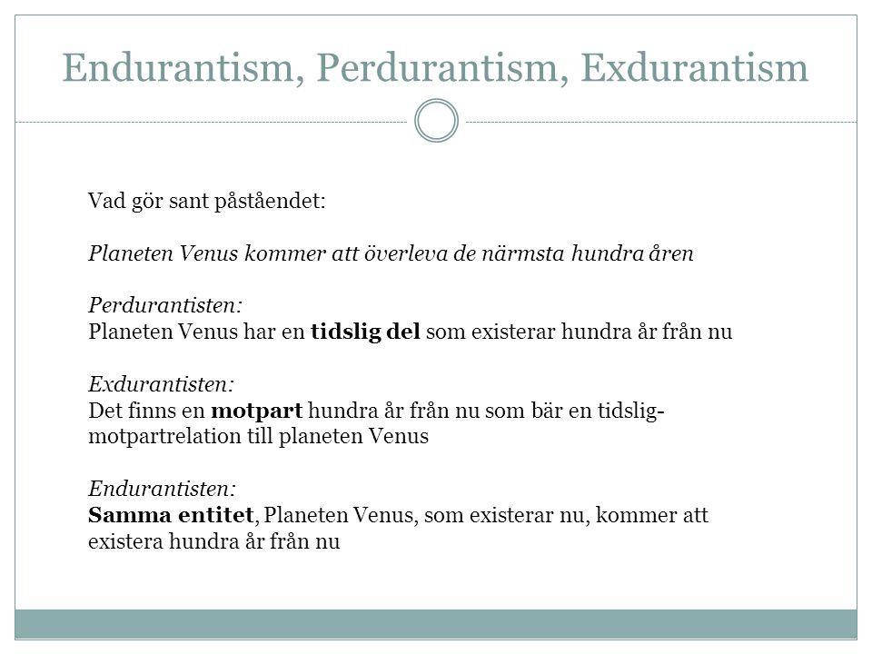 Endurantism, Perdurantism, Exdurantism