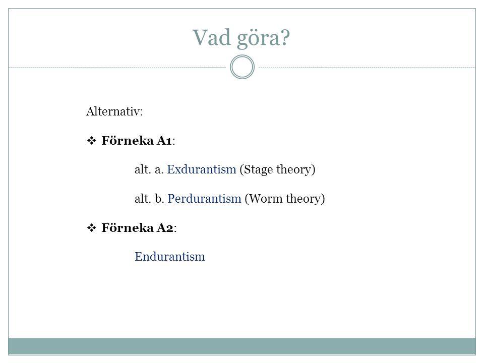 Vad göra Alternativ: Förneka A1: alt. a. Exdurantism (Stage theory)