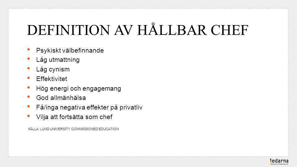 DEFINITION AV HÅLLBAR CHEF